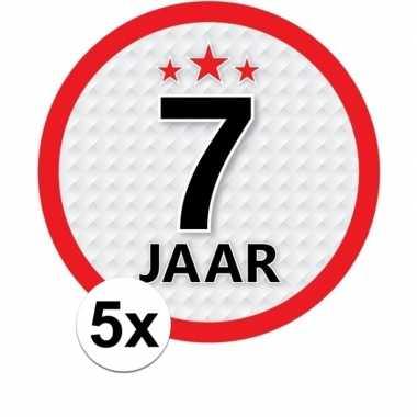 5x 7 jaar leeftijd stickers rond 15 cm verjaardag versiering