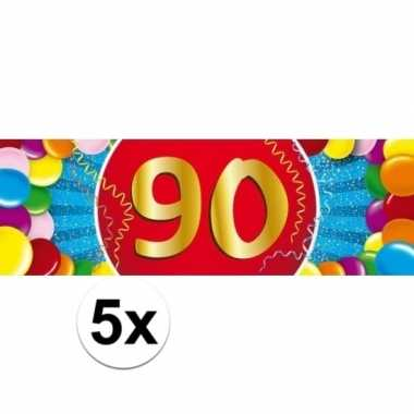 5x 90 jaar leeftijd stickers 19 x 6 cm verjaardag versiering