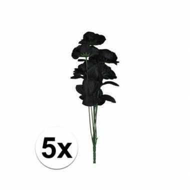 5x bosje met 12 zwarte rozen halloween versiering 38 cm