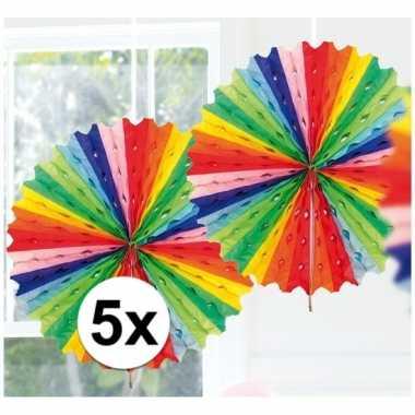 5x feestversiering regenboog kleuren versiering waaier 45 cm