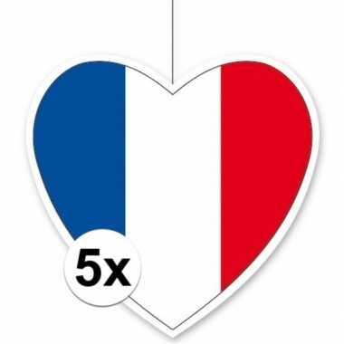 5x frankrijk hangversiering harten 28 cm
