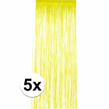 5x geel versiering deurgordijn