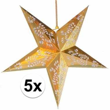 5x gouden versiering ster 60 cm