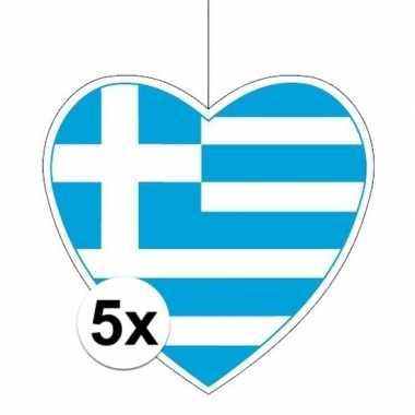 5x griekenland hangversiering harten 28 cm