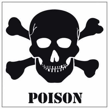 5x halloween versiering giftig poison stickers 10 5 cm