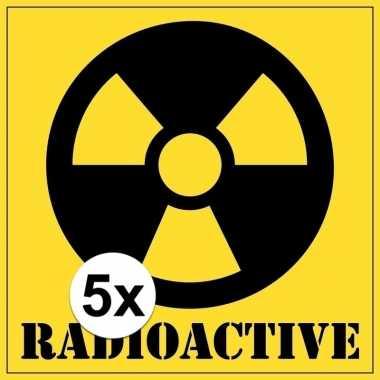 5x halloween versiering radioactief / radioactive sticker 10,5 cm