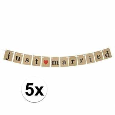 5x just married papieren slinger 200 cm bruiloft versiering