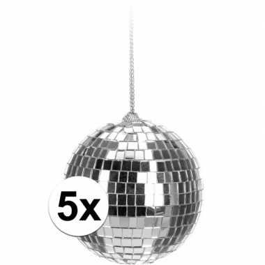 5x kerstboom versiering discoballen zilver 6 cm
