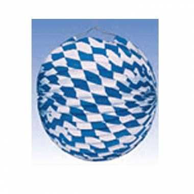 5x lampionnen versiering blauw/wit 25 cm