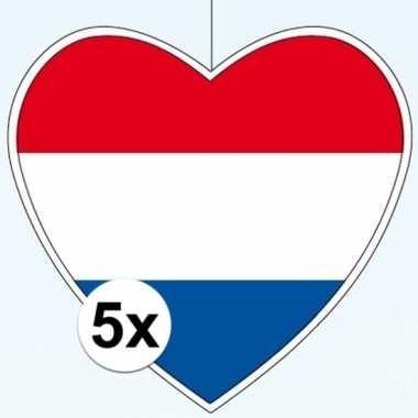 5x nederland hangversiering harten 28 cm