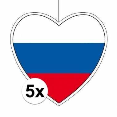 5x rusland hangversiering harten 28 cm