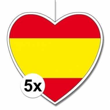 5x spanje hangversiering harten 28 cm