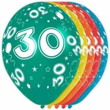 5x stuks 30 jaar thema versiering heliumballonnen 30 cm