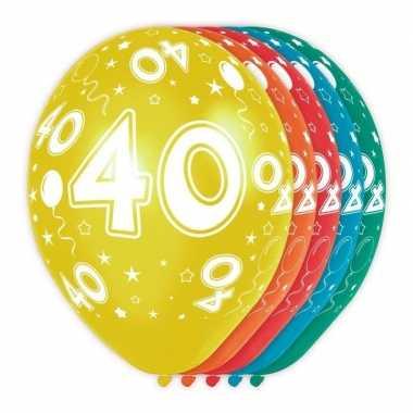 5x stuks 40 jaar thema versiering heliumballonnen 30 cm
