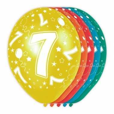 5x stuks 7 jaar thema versiering heliumballonnen 30 cm