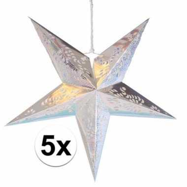 5x stuks versiering sterren lampionnen zilver van 60 cm