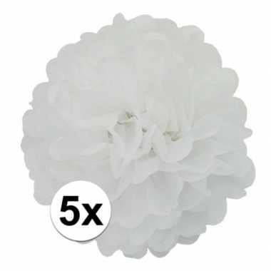 5x stuks witte pompom versiering 25 cm
