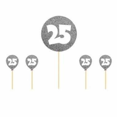 5x taart topper 25 jaar thema versiering zilver