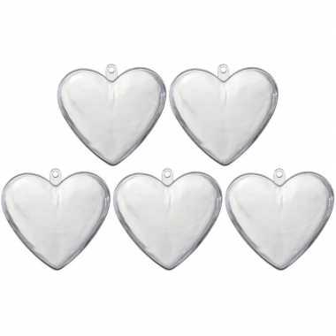 5x transparant kunststof hart 10 cm versiering/hobbymateriaal
