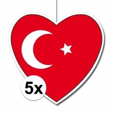 5x turkije hangversiering harten 28 cm