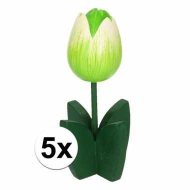 5x versiering houten witte tulpen