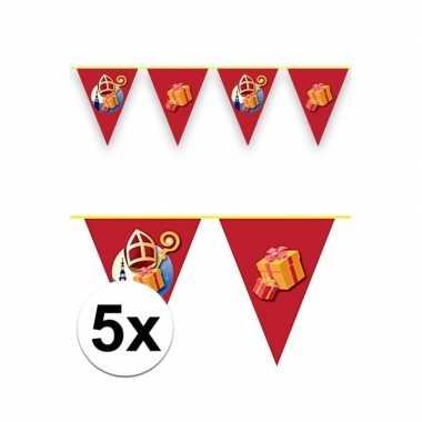 5x vlaggenlijnen versiering sinterklaas 6 meter