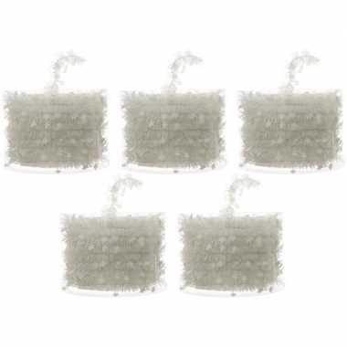 5x witte kerstversiering folie slingers met sterren 700 cm