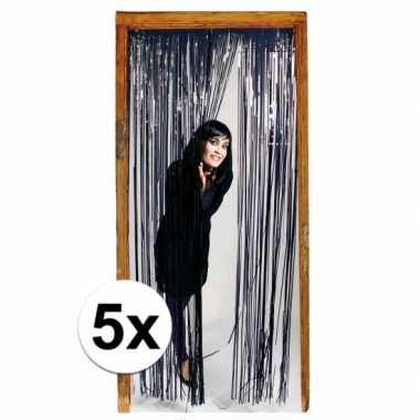 5x zwarte versiering deurgordijn