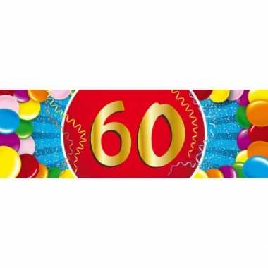 60 jaar leeftijd sticker 19 x 6 cm verjaardag versiering