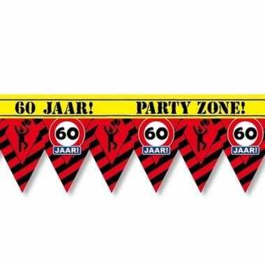 60 jaar party tape/markeerlint waarschuwing 12 m versiering