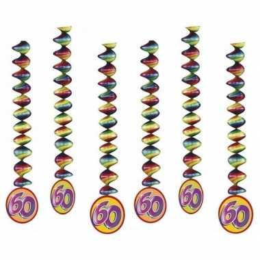 60 jaar versiering spiralen 6x