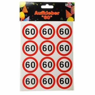 60 jarige versiering 24 stickers