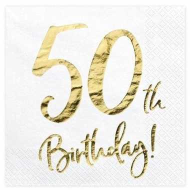 60x 50 jaar leeftijd versiering feest servetten 33 cm