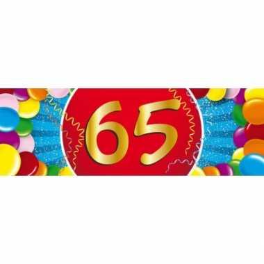 65 jaar leeftijd sticker 19 x 6 cm verjaardag versiering