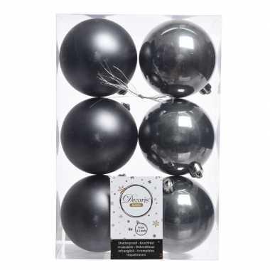 6x antraciet kerstversiering kerstballen kunststof 8 cm