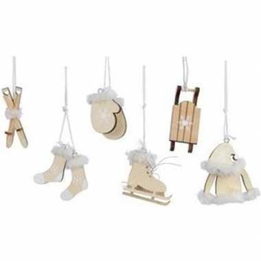 6x beige houten kerstversiering hangversierings 13 cm