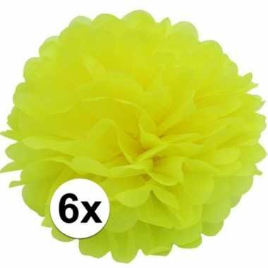 6x gele pompom versiering 35 cm
