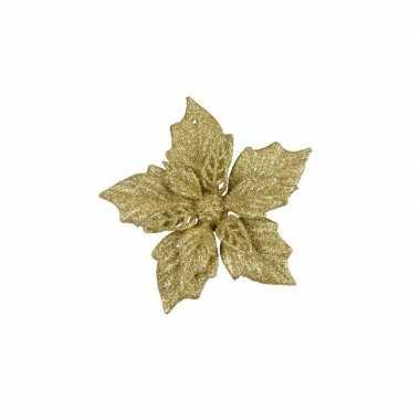 6x gouden versiering bloem 12 cm op clip