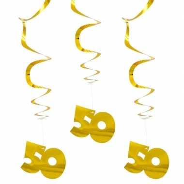 6x hangversiering goud 50 jaar