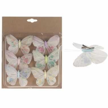 6x hobby vlinder versiering gekleurd 10 cm