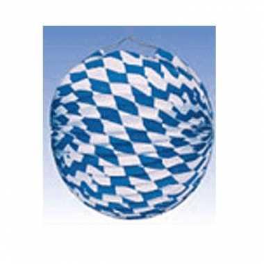 6x lampionnen versiering blauw/wit 25 cm