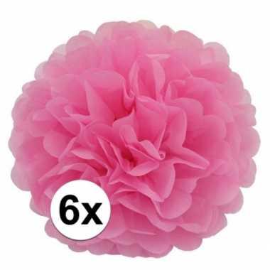 6x lichtroze pompom versiering 35 cm
