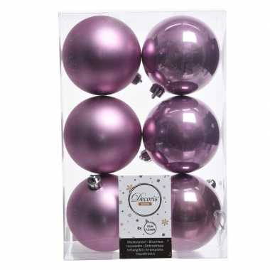 6x lila paarse kerstversiering kerstballen kunststof 8 cm