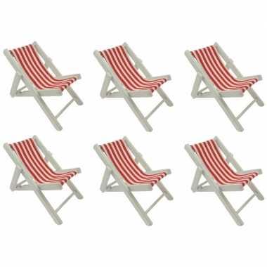 6x maritieme versiering strandstoel rood