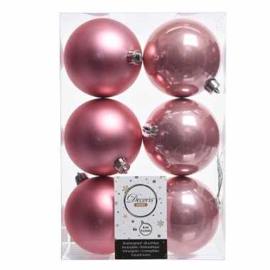 6x oud roze kerstversiering kerstballen kunststof 8 cm