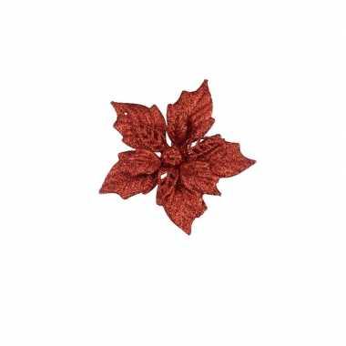 6x rode versiering bloem 12 cm op clip