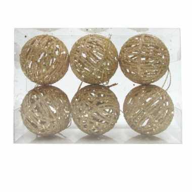 6x rotan kerstballen goud met glitters 5 cm kerstboomversiering