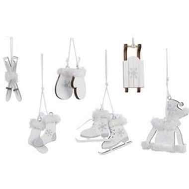 6x witte houten kerstversiering hangversierings 13 cm