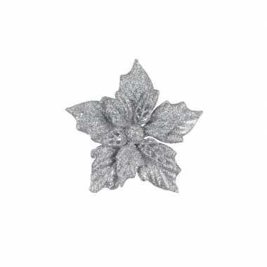 6x zilveren versiering bloem 12 cm op clip.