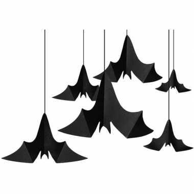 6x zwarte vleermuizen hangversierings van papier